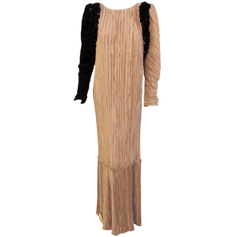 Mary McFadden Taupe & Black Gown w/ Black Beaded Drape, c 1980s