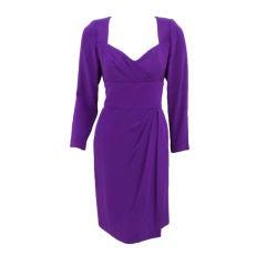 Travilla Purple Cocktail Dress w/ Side Drape, c. 1980's