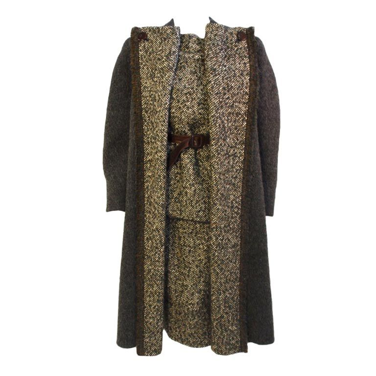 Pauline Trigere 3 Pc. Wool Tweed Overcoat, Top and Skirt, c 1980