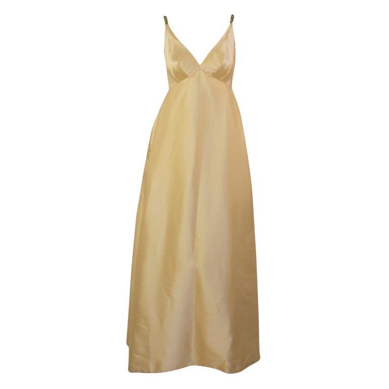 Helen Rose Vintage Ivory Gown w/ Rhinestone Straps, c. 1960's 1