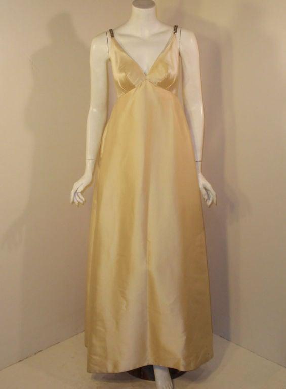 Helen Rose Vintage Ivory Gown w/ Rhinestone Straps, c. 1960's 2