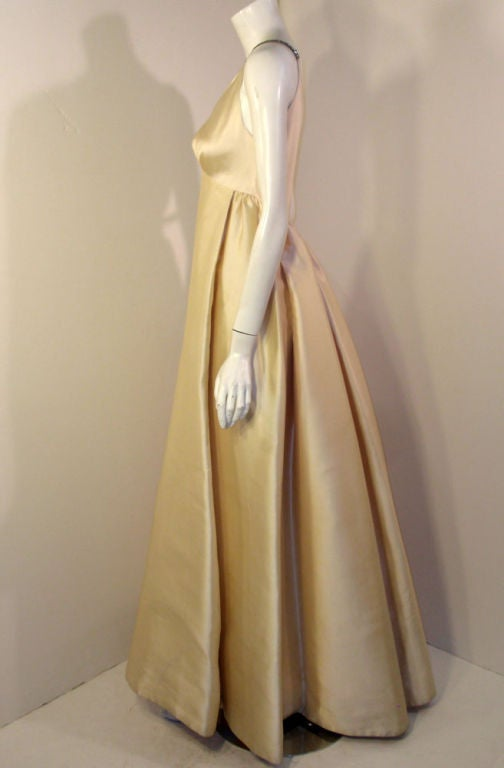 Helen Rose Vintage Ivory Gown w/ Rhinestone Straps, c. 1960's 4