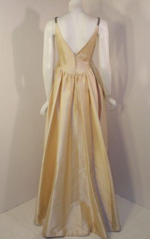 Helen Rose Vintage Ivory Gown w/ Rhinestone Straps, c. 1960's 5