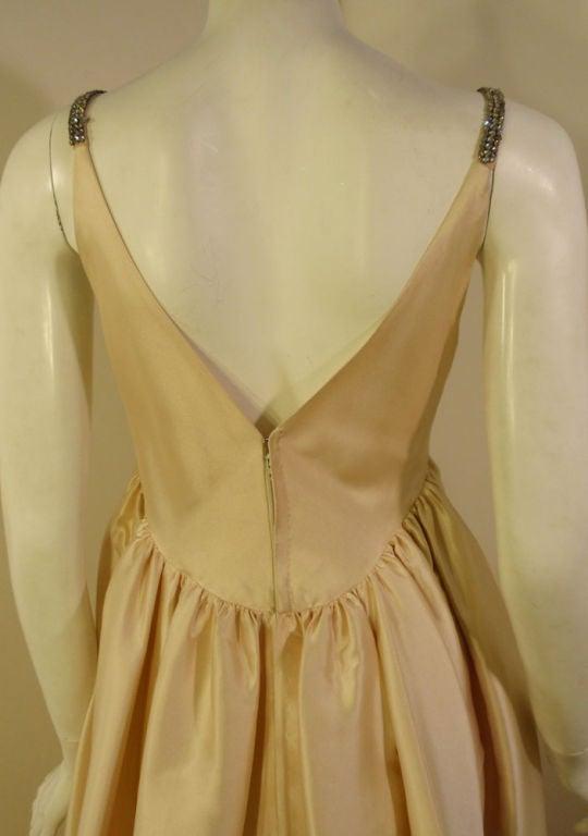 Helen Rose Vintage Ivory Gown w/ Rhinestone Straps, c. 1960's 8
