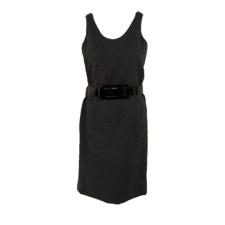 Geoffrey Beene Sexy Grey Wool Shift Dress w. Black Wide Belt, c. 1960's