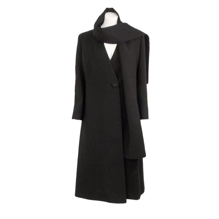 Pauline Trigere Black Wool Overcoat w/ Attached Scarf, c. 1980's