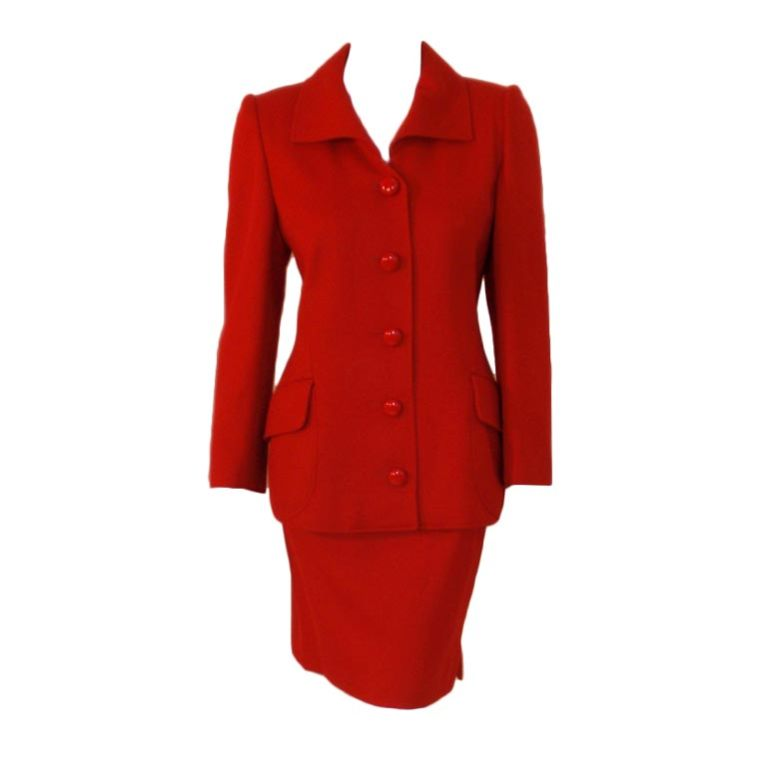 Valentino Red Cord 2-Piece Suit, Jacket and Pencil Skirt at 1stdibs