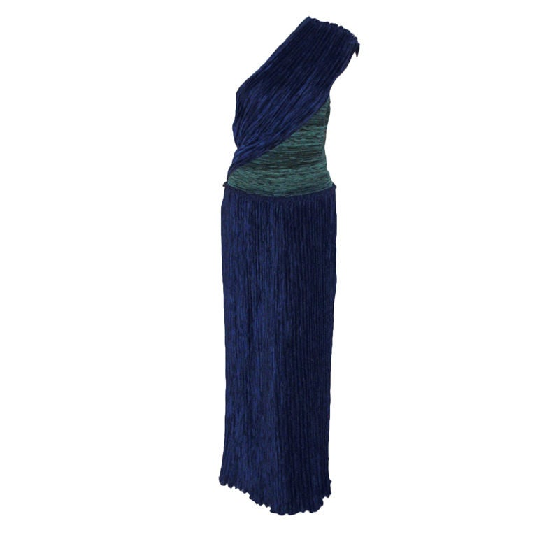 Mary McFadden Blue & Teal One Shoulder Gown, c. 1980's