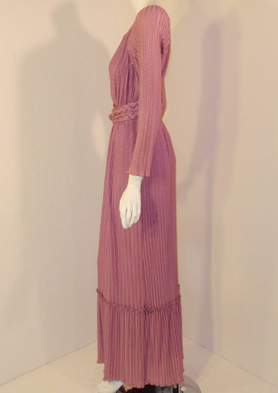 Pink MAry McFadden Mauve Pleated Long Sleeve Gown w/ Rope Belt, c. 1970's 10 For Sale