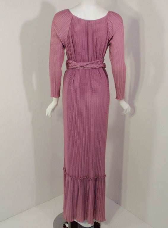 MAry McFadden Mauve Pleated Long Sleeve Gown w/ Rope Belt, c. 1970's 10 In Excellent Condition For Sale In Los Angeles, CA