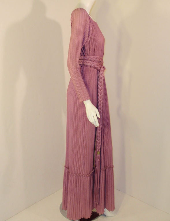 Women's MAry McFadden Mauve Pleated Long Sleeve Gown w/ Rope Belt, c. 1970's 10 For Sale
