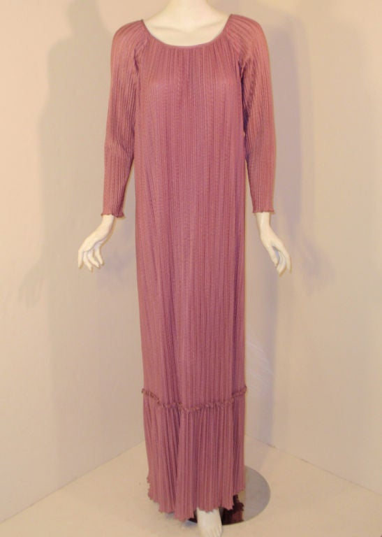 MAry McFadden Mauve Pleated Long Sleeve Gown w/ Rope Belt, c. 1970's 10 6
