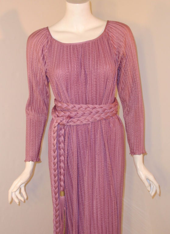 MAry McFadden Mauve Pleated Long Sleeve Gown w/ Rope Belt, c. 1970's 10 7