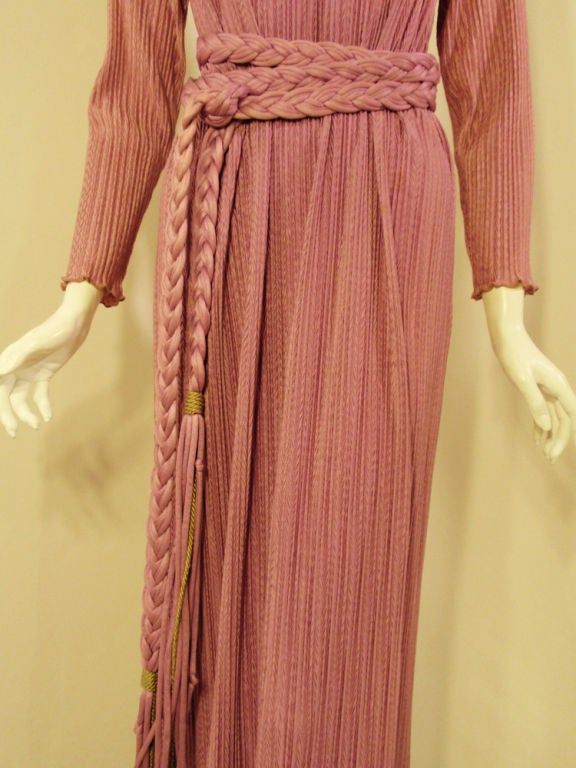 MAry McFadden Mauve Pleated Long Sleeve Gown w/ Rope Belt, c. 1970's 10 8