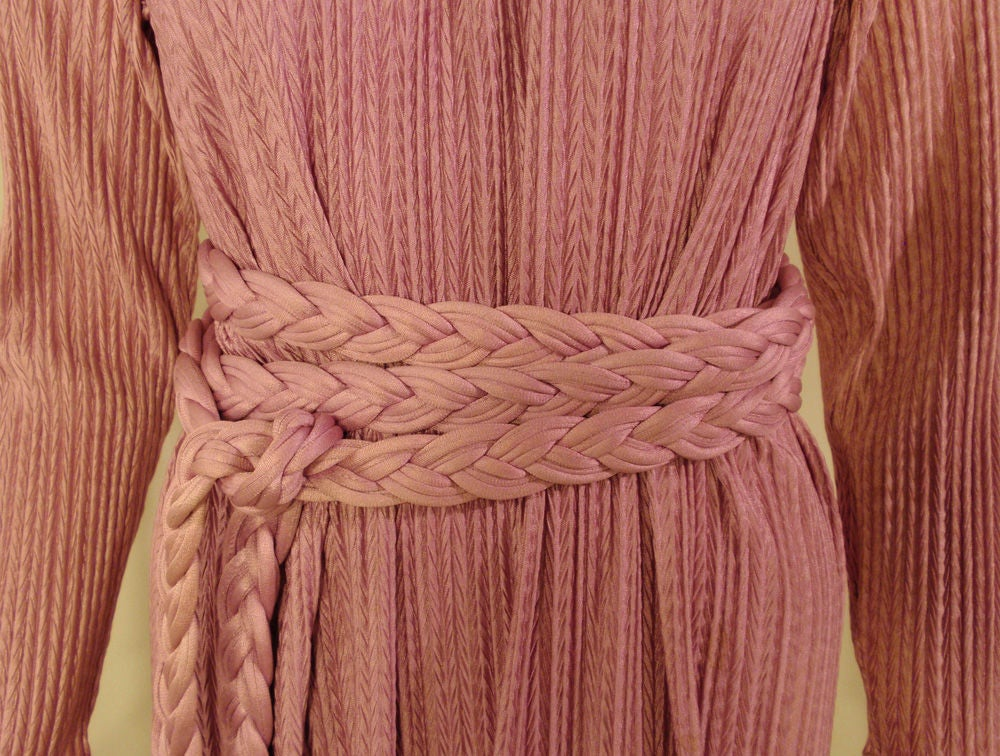 MAry McFadden Mauve Pleated Long Sleeve Gown w/ Rope Belt, c. 1970's 10 9