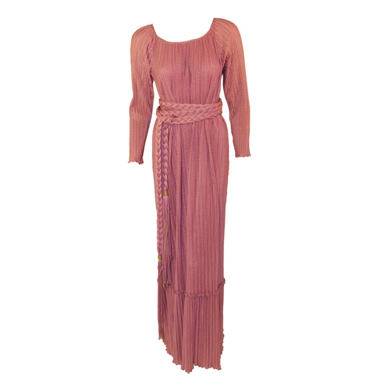 MAry McFadden Mauve Pleated Long Sleeve Gown w/ Rope Belt, c. 1970's 10