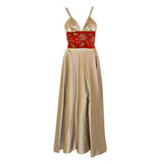 Eleanor Garnett Vintage Silver Satin Gown w/ Red Waist, 1950's