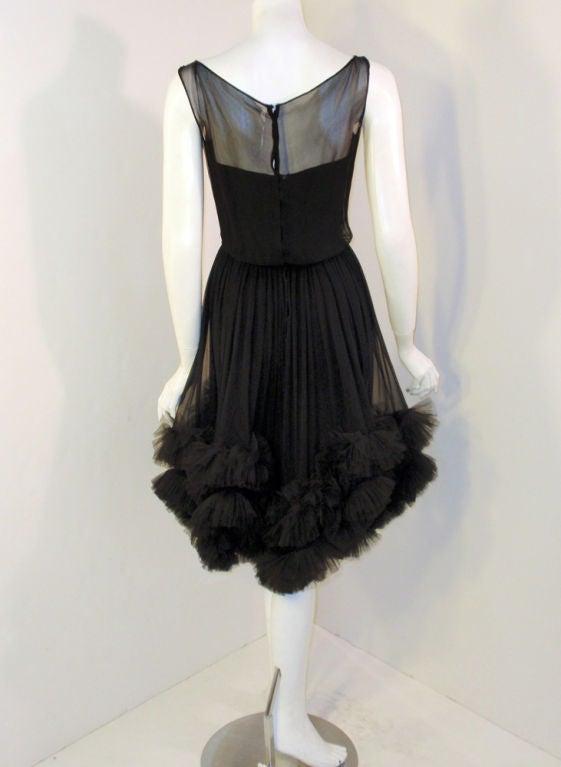 Ceil Chapman Black Chiffon Cocktail Dress W Tulle Ruffles