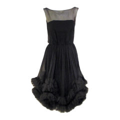 Ceil Chapman Black Chiffon Cocktail dress w/ Tulle Ruffles, '50s