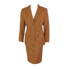 Rena Lange 2 pc. Tan Skirt Suit w/ Poodle Print Lining, 1990's