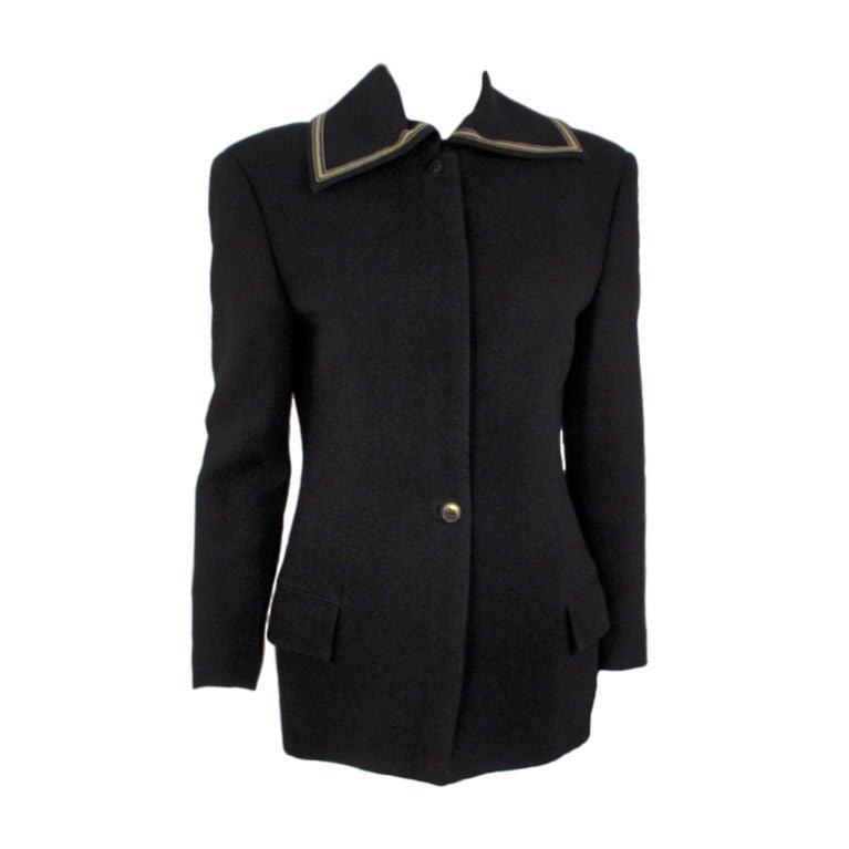 Gianni Versace Black jacket w/ Gray Stripe Detail Collar, 1990's