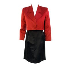 Andre' Laug 2 pc Red & Black Satin Skirt Suit Set, 1980's