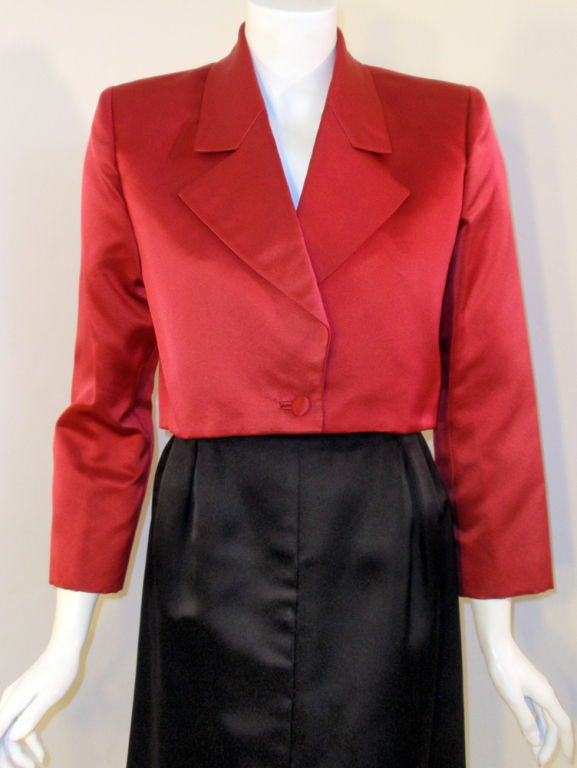 7463ec10028 Andre' Laug 2 pc Red and Black Satin Skirt Suit Set, 1980's For Sale ...