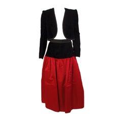 Adolfo 2 pc. Red Satin Skirt and Black Velvet Jacket,  c.1980's