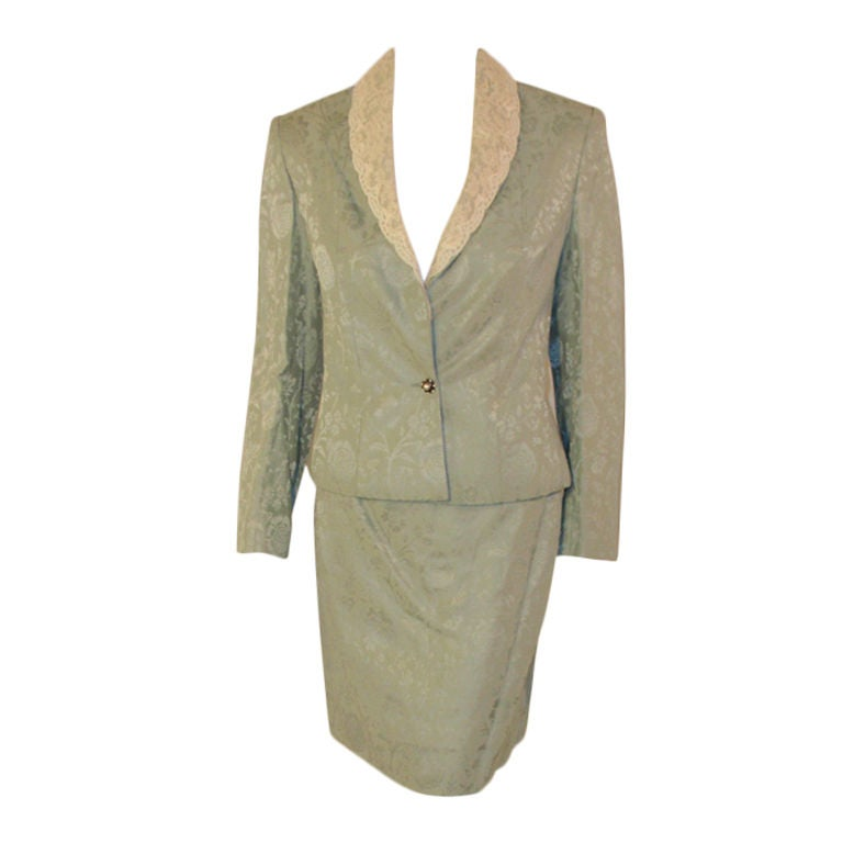 Christian Dior 2 pc Mint Green Skirt Suit with Lace Lapel, c 1990's Size 10