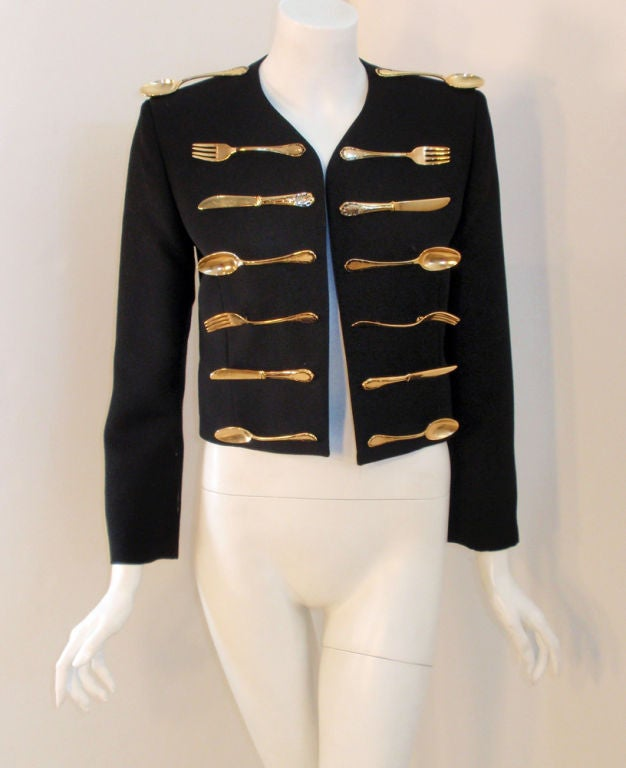 Moschino Couture! Black Wool Crop Jacket w/ Gold Silverware 2
