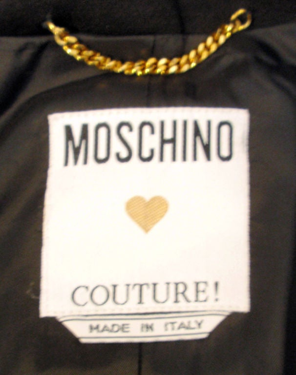 Moschino Couture! Black Wool Crop Jacket w/ Gold Silverware image 3