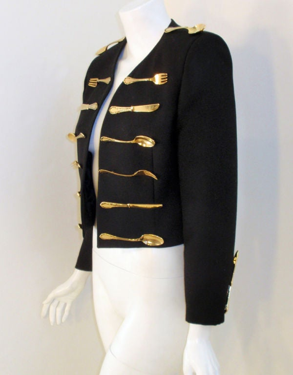Moschino Couture! Black Wool Crop Jacket w/ Gold Silverware 4