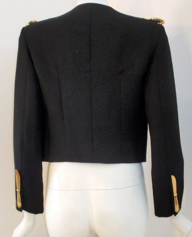 Moschino Couture! Black Wool Crop Jacket w/ Gold Silverware image 5