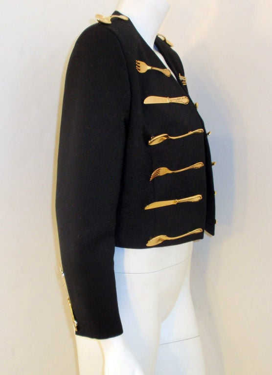 Moschino Couture! Black Wool Crop Jacket w/ Gold Silverware image 6