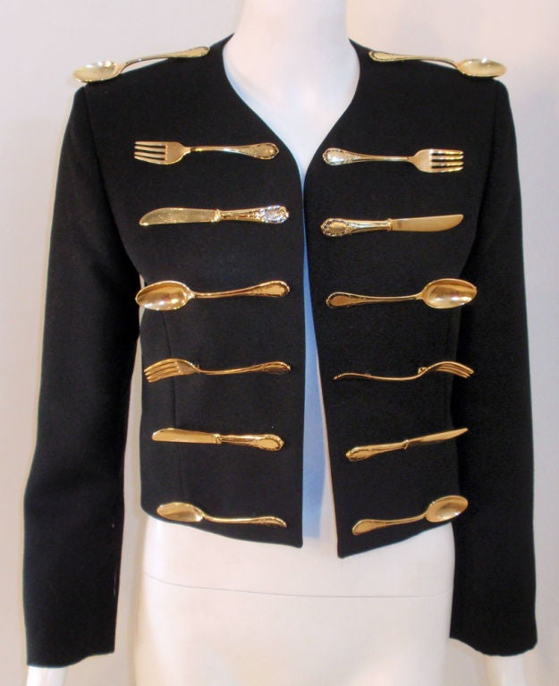Moschino Couture! Black Wool Crop Jacket w/ Gold Silverware image 7