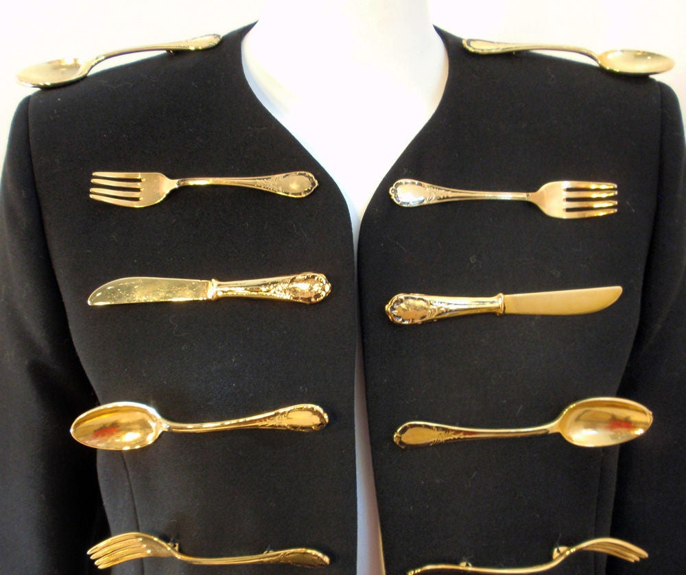 Moschino Couture! Black Wool Crop Jacket w/ Gold Silverware image 8