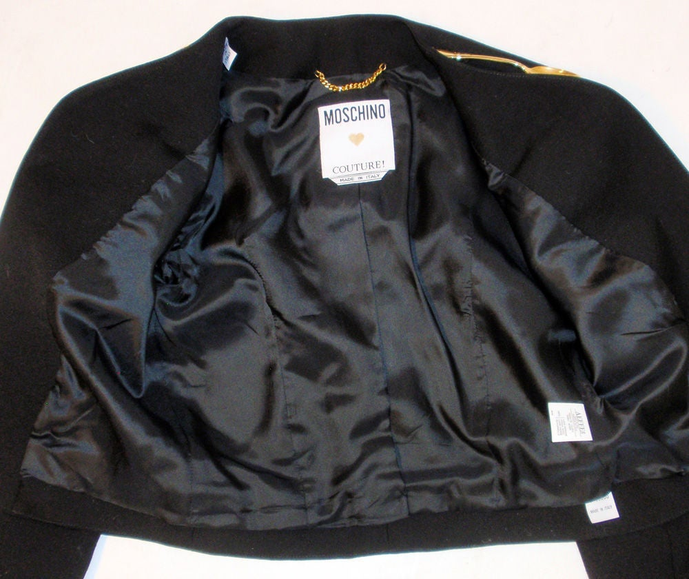 Moschino Couture! Black Wool Crop Jacket w/ Gold Silverware image 10