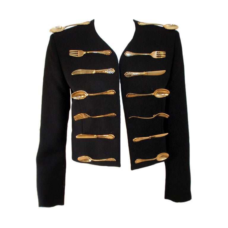 Moschino Couture! Black Wool Crop Jacket w/ Gold Silverware 1
