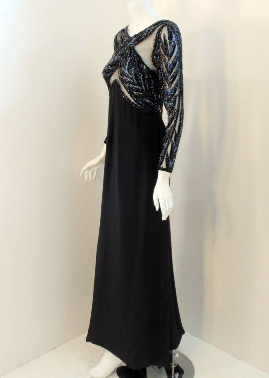 Bob Mackie Gown with Blue Bead & Sequin Halter over Black mesh Bodice 3