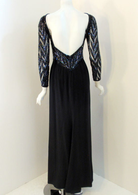 Bob Mackie Gown with Blue Bead & Sequin Halter over Black mesh Bodice 4