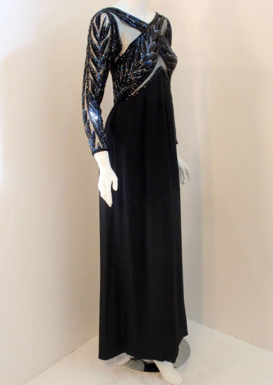 Bob Mackie Gown with Blue Bead & Sequin Halter over Black mesh Bodice 5