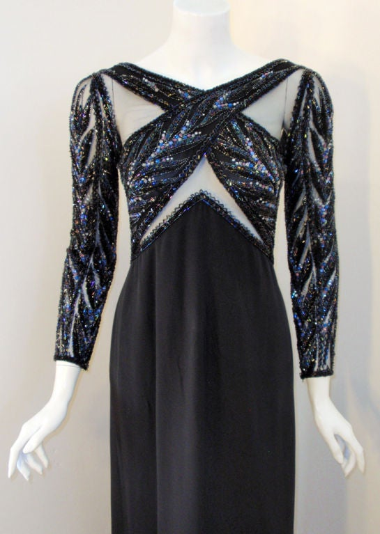 Bob Mackie Gown with Blue Bead & Sequin Halter over Black mesh Bodice 6