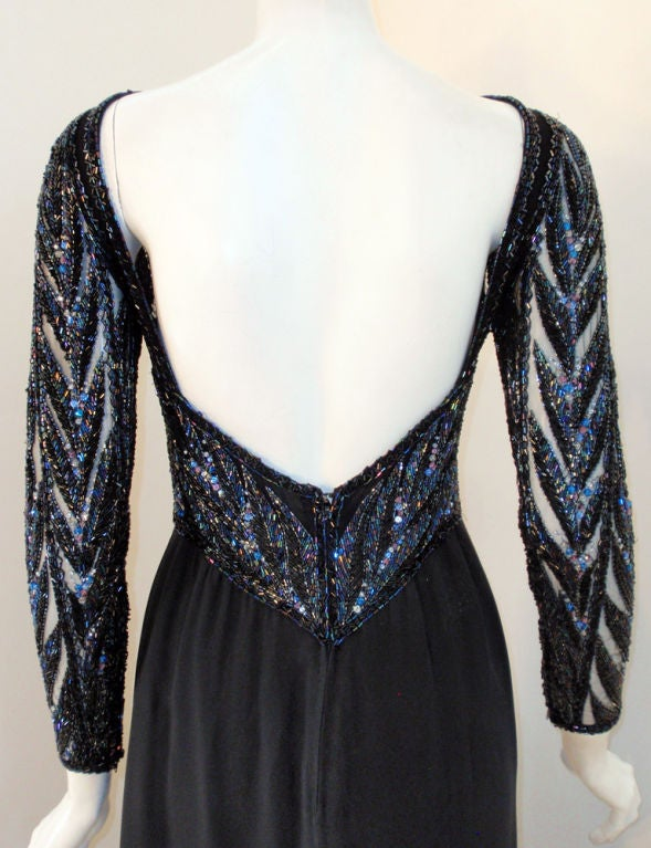 Bob Mackie Gown with Blue Bead & Sequin Halter over Black mesh Bodice 7