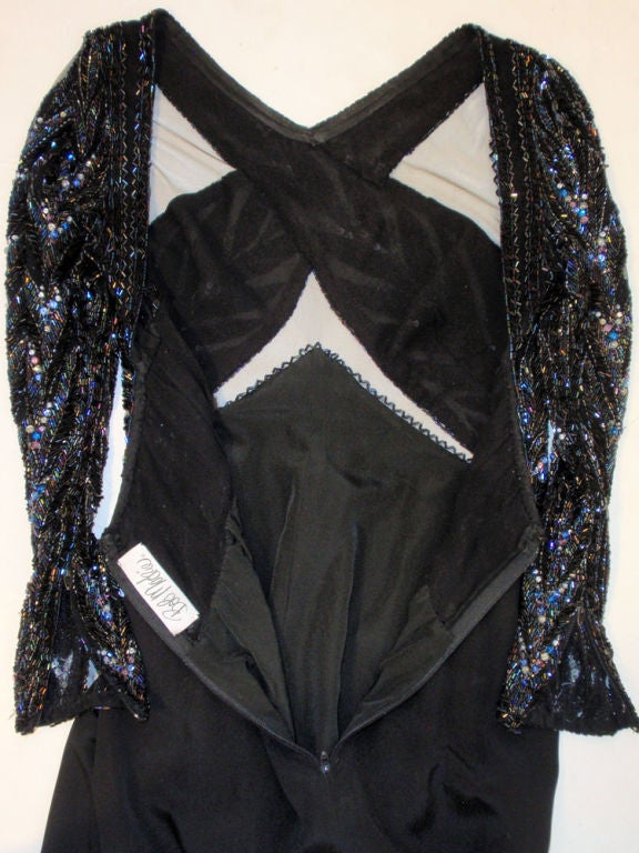 Bob Mackie Gown with Blue Bead & Sequin Halter over Black mesh Bodice 8