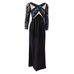Bob Mackie Gown with Blue Bead & Sequin Halter over Black mesh Bodice