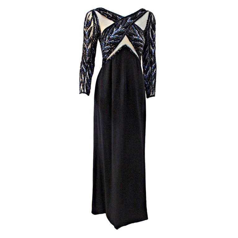 Bob Mackie Gown with Blue Bead & Sequin Halter over Black mesh Bodice 1