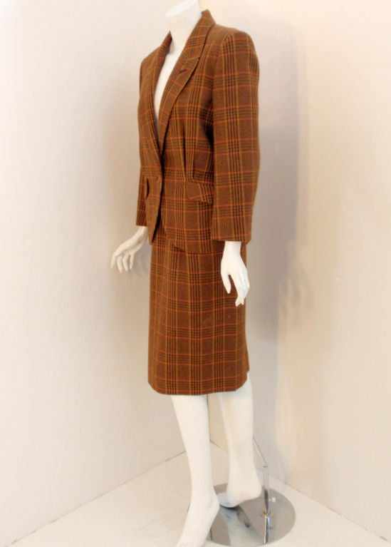 hermes brown plaid wool 2 pc single breasted skirt suit. Black Bedroom Furniture Sets. Home Design Ideas