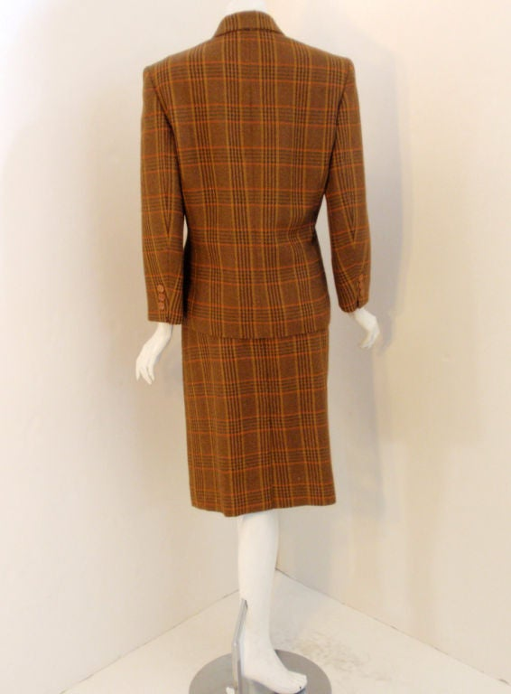 hermes brown plaid wool 2 pc single breasted skirt suit at 1stdibs. Black Bedroom Furniture Sets. Home Design Ideas