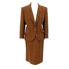 Hermes Brown Plaid  Wool 2 pc. Single Breasted Skirt Suit