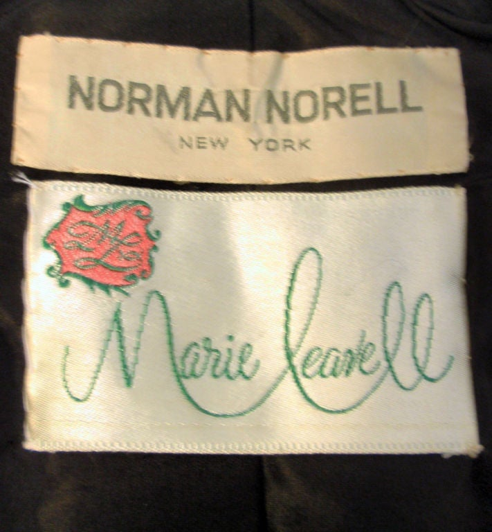 Norman Norell Couture 2 pc. Black w/ Cream Embroidered Circles Belted Skirt Suit 2